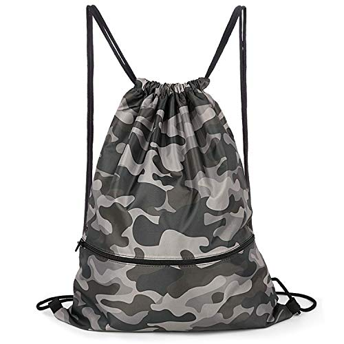 (Camouflage Drawstring Backpack Bag Men & Women Sport Gym Sack Cinch Bag with Zipper Pockets (Camo))