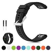 Feskio 26mm Width Quick Install Soft Silicone Replacement Wrist Watch Strap for Fenix 5X/Fenix 3/Fenix 3 HR/Fenix 3 Sapphire/Garmin D2 Bravo/Quatix 3/Tactix Bravo GPS Running Smartwatch