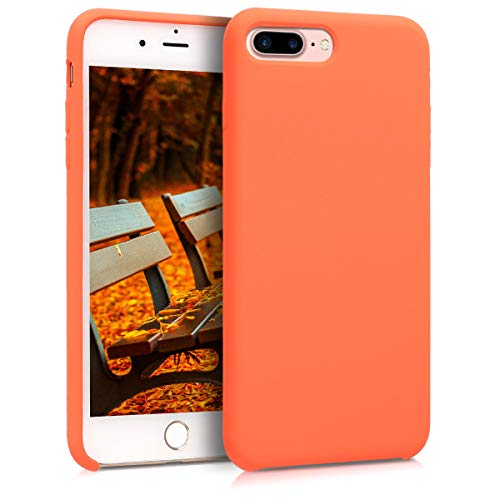 kwmobile TPU Silicone Case for Apple iPhone 7 Plus / 8 Plus - Soft Flexible Rubber Protective Cover - Orange
