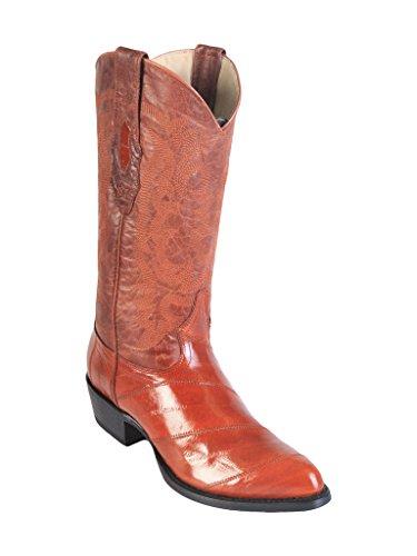 (Men's Medium R-Toe Cognac Genuine Leather EEL Skin Western Boots)