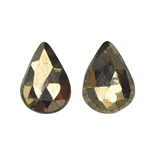 Pyrite Gemstone Beads, Faceted Pear Briolettes 11-14mm, 4 Pieces, Gold