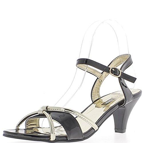 Piccoli tacchi sandali neri spessi 6, 5cmavec Golden flange