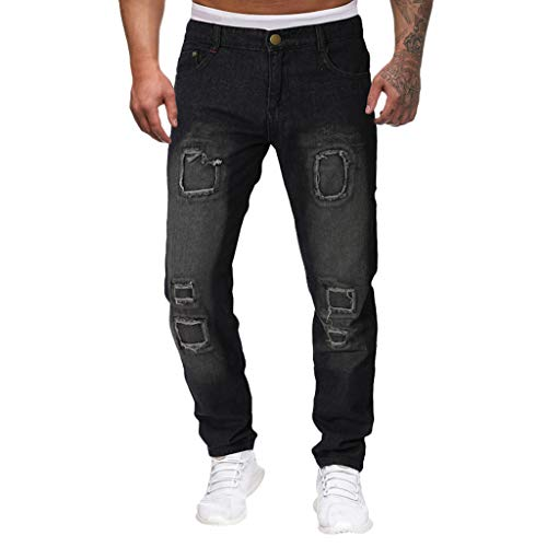 - SPE969 Men's Jeans Casual Destroyed Denim Knee Length Hole Ripped Slim Pants