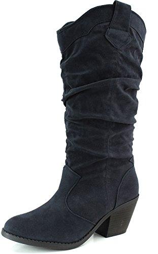 Qupid Women's Mid Knee Western Cowboy Combat Stacked Blue Vegan Suede Boots, 5.5