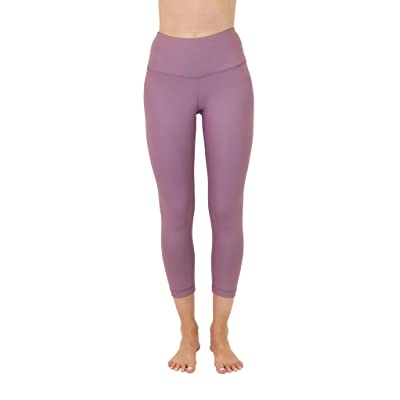 90 Degree By Reflex High Waist Disco Pants - Shiny Hi-Rise Capri Leggings (Medium, Tayo Yam)