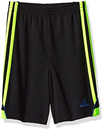 adidas Boys' Toddler Active Stripe Short, Grey Heather Body Solar Yellow, 3T