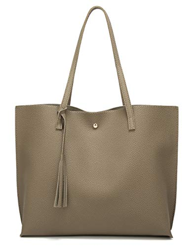 Women's Soft Faux Leather Tote Shoulder Bag from Dreubea, Big Capacity Tassel Handbag Soil Apricot]()