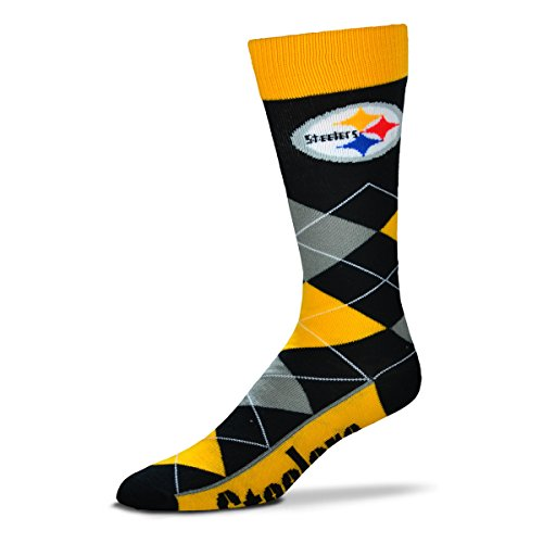 NFL Pittsburgh Steelers Argyle Unisex Crew Cut Socks - One Size Fits Most at Steeler Mania