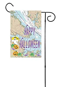 "Happy Halloween Pumpkins and Ghosts Nautical Garden Flag 12""x18"""
