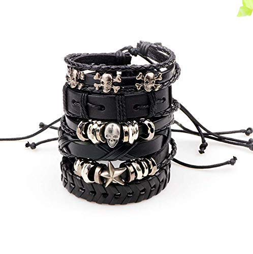 Moda Accessories Fashion Set of 6 Genuine Leather Multi Strand Stylish Bracelets for Men and Boys (Style 3)