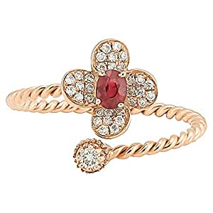 365Love Women's 18K Solid Rose Gold Diamond and Ruby Ring - 14 US