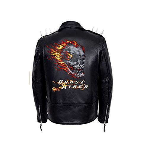 Ghost Rider with Spikes and Skull Biker Leather Jacket (Large)