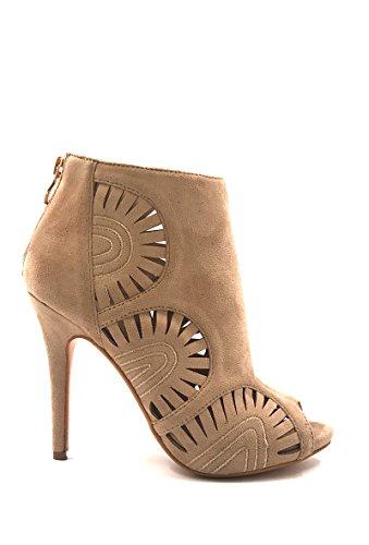 CHIC perforet Chaussure motif effet Mode ouvert bout daim Bottines Beige en NANA Femme Escarpins P7wxr5ZPq