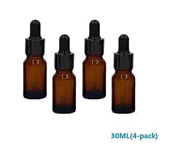 Tukistore 1 Oz Botellas de Vidrio ámbar (10 ML) con recipientes de Vidrio Cónico