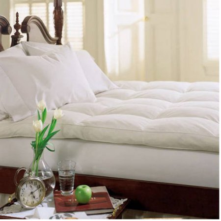Cluster Top Feather Bed Pillow Top Baffle Box 233 Thread Count Filled with White Goose Feathers and Goose Down for a Soft Dreamy Wonderful Night's Sleep in the Bed and Bedroom (King)