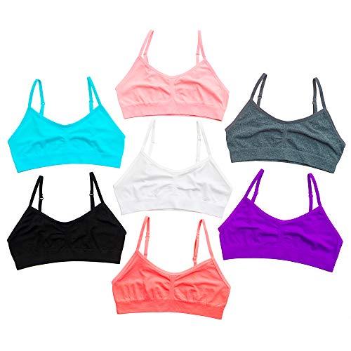 Alyce Intimates Seamless Girls Sports Bra, Pack of 7, Assorted (Best Bra For 10 Year Old)