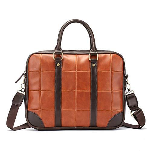 - Men'S Leather Laptop Bag Office For Briefcase 14'' Computer Bag Plaid Handbags Business Brown