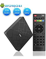 TV Box Android 8.1 - YANCHI HK1mini Smart TV Box Quad Core, 2GB RAM & 16GB ROM, 4K*2K UHD H.265, HDMI, USB*2, WiFi Media Player, Android Set-Top Box [Versión Mejorada]