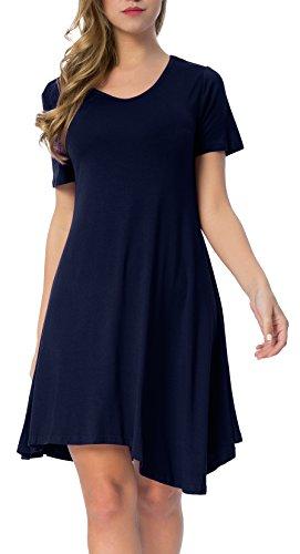 Mounblun Womens Short Sleeve Swing Loose Flowy Casual Tunic Shirt Dress Navy Blue Xl