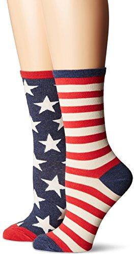Socksmith Women's Flag Crew Socks, Vintage Blue, Medium (Rock Crew Socks Star)