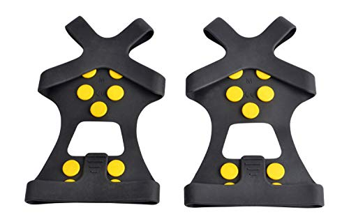 WAYPOR Ice Grips, Traction Cleats, Ice Cleat, Easy Slip On, Outdoor Durable, 10 Steel Studs, Stretchable, Prevent Slipping from Ice/Snow, Extra Studs Included in Each Package. (Small) (Ice Traction Slip On)