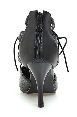 YE Damen Spitze High Heels Pumps mit Schnürung Geschlossen 5cm Absatz Modern Abend Schuhe Schwarz