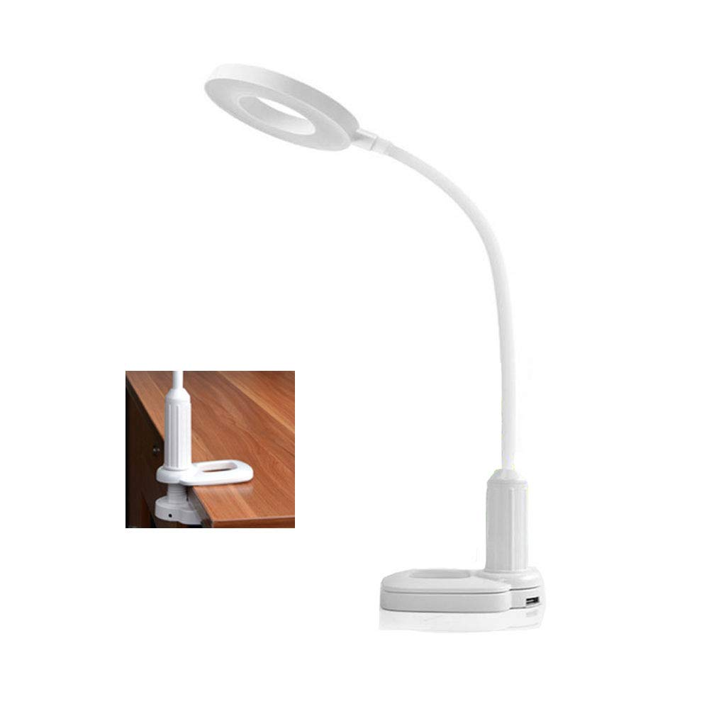 USB Desk Lamp with Clamp LED Clip Reading Light, LUXNOVAQ 5W Rechargeable Office Table Lamps with Flexible Gooseneck & Stepless Dimmable & 3 Color Temperature & Touch Control for Bed Student, White