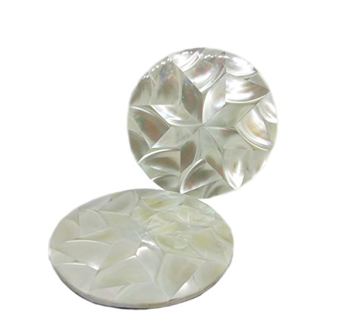 Coaster Pearl - Set of 2 mother of pearl coaster (2QTY, white)