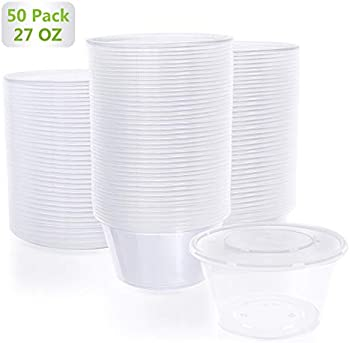 50-Piece Karidge 27 oz Disposable BPA Free Food Storage Containers