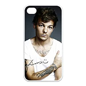 Top Iphone Case Pop Singer Louis Tomlinson of Pop Boy Band One Direction Design for TPU Best Iphone 4/4s Case (white)