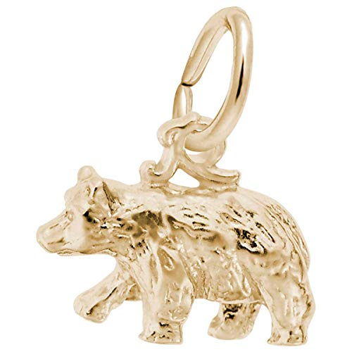 Rembrandt Charms Black Bear Charm, Gold Plated Silver