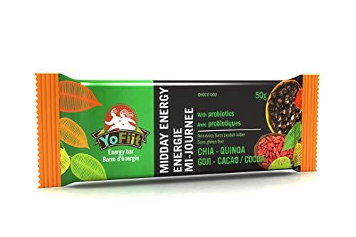 Goji-Chocolate High Fiber Energy Bars. Low Sugar, Gluten Free, Soy Free, Dairy Free (Vegan), Non-GMO. with Probiotics & Prebiotics for Healthy Digestion (1)