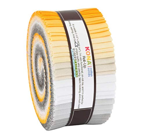 Kona Cotton Sunny Side Up Palette Roll Up 40 2.5-inch Strips Jelly Roll Robert Kaufman