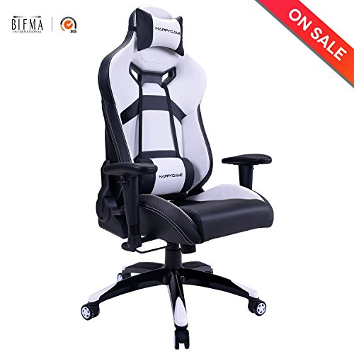 HAPPYGAME Oversized Racing Gaming Chair 400 lbs Capacity Ergonomic High Back Office Computer Desk Office Chair with Adjustable Headrest and Lumbar Support, White