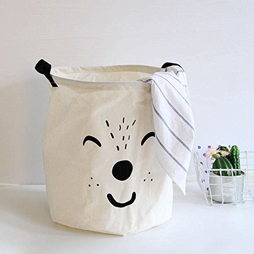 Nappy Bucket - Lqchl Lovely Cartoon Aamial Cotton Linen Laundry Storage Basket Kid Toy Organizer Bag Dirty Clothes Container Pocket Baby Nappy Bucket,White
