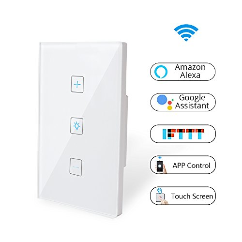 Wifi Light Switch-Smart Dimmer Switch Panel Work with Alexa Google Home IFTTT-Timer Function and Phone Remote Control Wall Light Any Where-No Hub Required and Free App  (1 Pack)