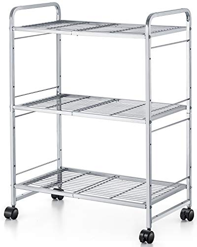 Bextsware 3 Tiers Metal Shelves, Unit Storage Rack, Wire Shelving with Leveling Feet and 360° Casters for Kitchen Counter, Living Room, Bethroom, Toliet, Garage, Office - Silver (2 Tier Metal Shelving Unit)
