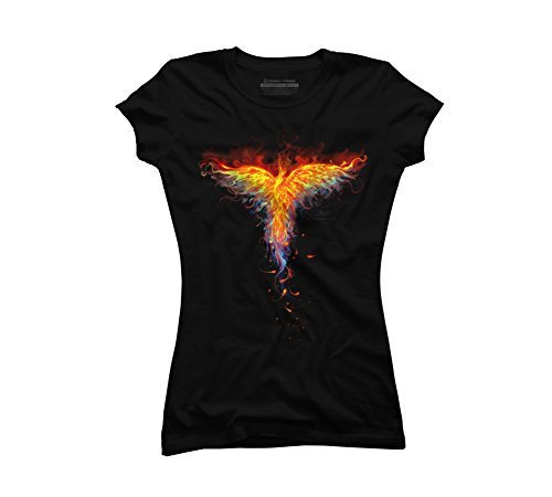 Fire Phoenix Juniors' Small Black Graphic T Shirt - Design By Humans - Phoenix Bird Designs