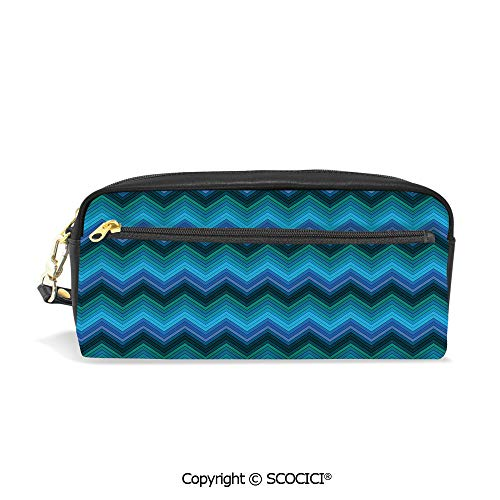 - Fasion Pencil Case Big Capacity Pencil Bag Makeup Pen Pouch Horizontal Fashion Chevron Pattern in Aquatic Colors Thin Sharp Zigzag Lines Striped Decorative Durable Students Stationery Pen Holder