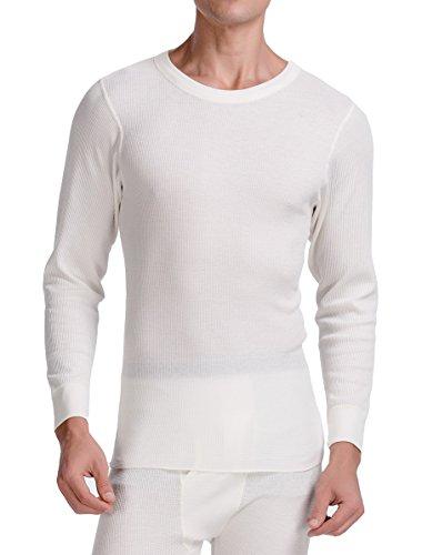 Top Knit Underwear Long Shirt - CYZ Men's Thermal Long Sleeve Crew Top-Natural-XL