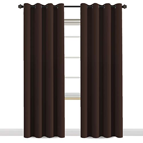 H.VERSAILTEX Blackout Room Darkening Curtains Window Panel Drapes - (Chocolate Brown Color) - 2 Panels - 52 inch Wide by 84 inch Long Solid Pattern, Grommet ()