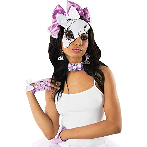 M&J Trimmings Papillion Accessories Lavender Broken Doll Halloween Costume Accessory Kit for Women, 4 Pieces -