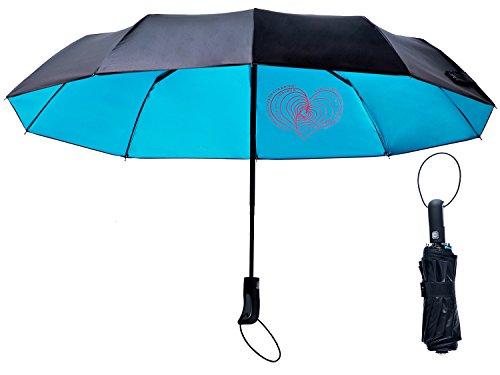 Umbrella Windproof Mini Automatic Umbrella Travel Golf Umbrella,UV Protection Sun Rain Umbrella 10 Ribs Auto Open Close for Men Women,Fast Drying Portable Gift Box,LIANLAM (Blue,45inch)