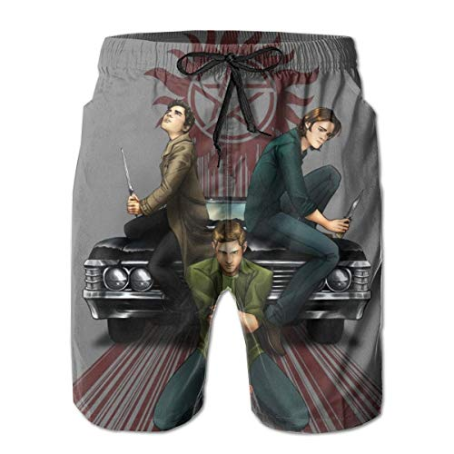 (American Supernatural-Symbols Impala Car Red Pentagram Summer Breathable Swim Trunks Beach Shorts Cargo Shorts for Men Teens Boys)