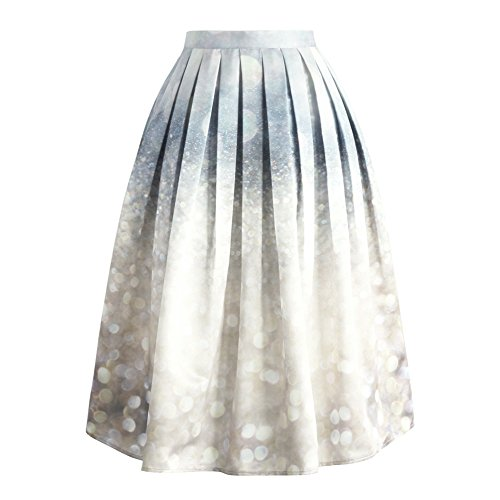 Chicwish Women's Silver Grey Sparkles Glitter Prom Party Print Pleated A-Line Midi - Pleated Multi Skirt