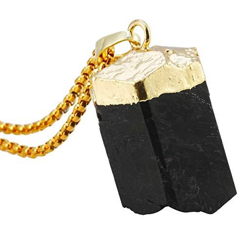 (TUMBEELLUWA Natural Crystal Pendant Necklace Raw Stone Gemstone Gold Plated Healing Irregular Handmade Jewelry for Women,Black Tourmaline)