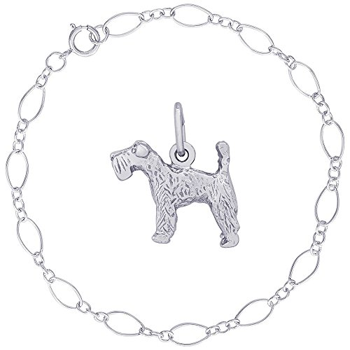 Blue Dog Kerry Terrier Charm (Rembrandt Charms Sterling Silver Kerry Blue Terrier Charm on a Figaro Link Bracelet, 7