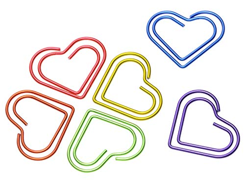 Mini Skater 60Pcs Heart Shape Paperclips Colorful Cute Bookmark Paper Clip Document Organizer for Home Office School Personal Use, 6 Random Color (Heart Paperclip Bookmark)
