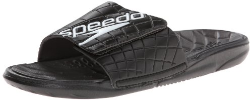 Speedo Men's Exsqueeze Me Rip Slide All Purpose Slide,Black/Dark Gull Grey,11 M US