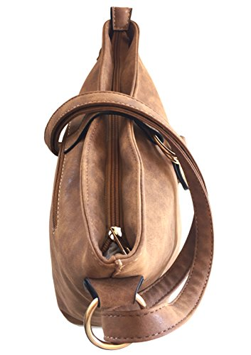 Styled Bag Zipped amp; Shoulder with Across Handbags BELLA Fastener Strap Italian Magnetic Matt Top Aged Designer Adjustable Classic Shoulder for Body Tan Ladies Bag xYOpqqw0
